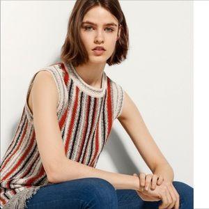 Massimo Dutti Striped  Sleeveless Sweater Size S